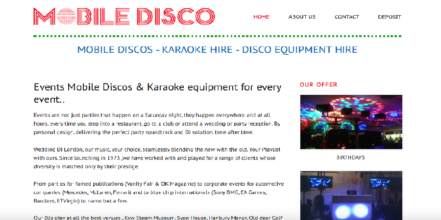 Mobile Disco Website Design