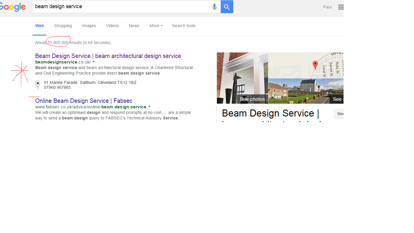 Screen Shot of search result for Beam Design Service