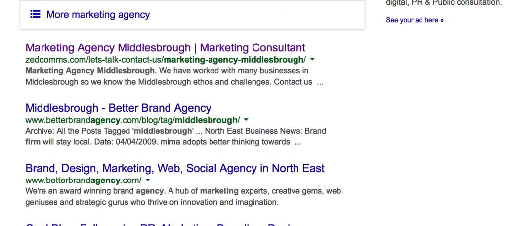 SS Marketing agency Middlesbrough SERP